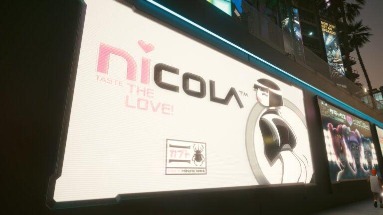 Nicola-Werbung in Cyberpunk 2077