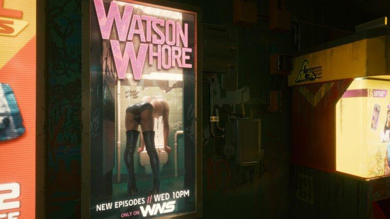 Werbung für Watson Whore in Cyberpunk 2077