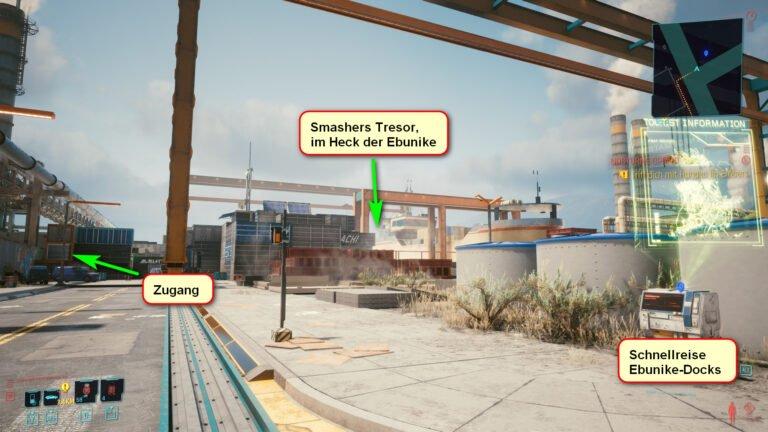 Blick auf die Ebunike-Docks mit Markierungen, wie man an Adam Smashers Tresor in Cyberpunk 2077 gelangt