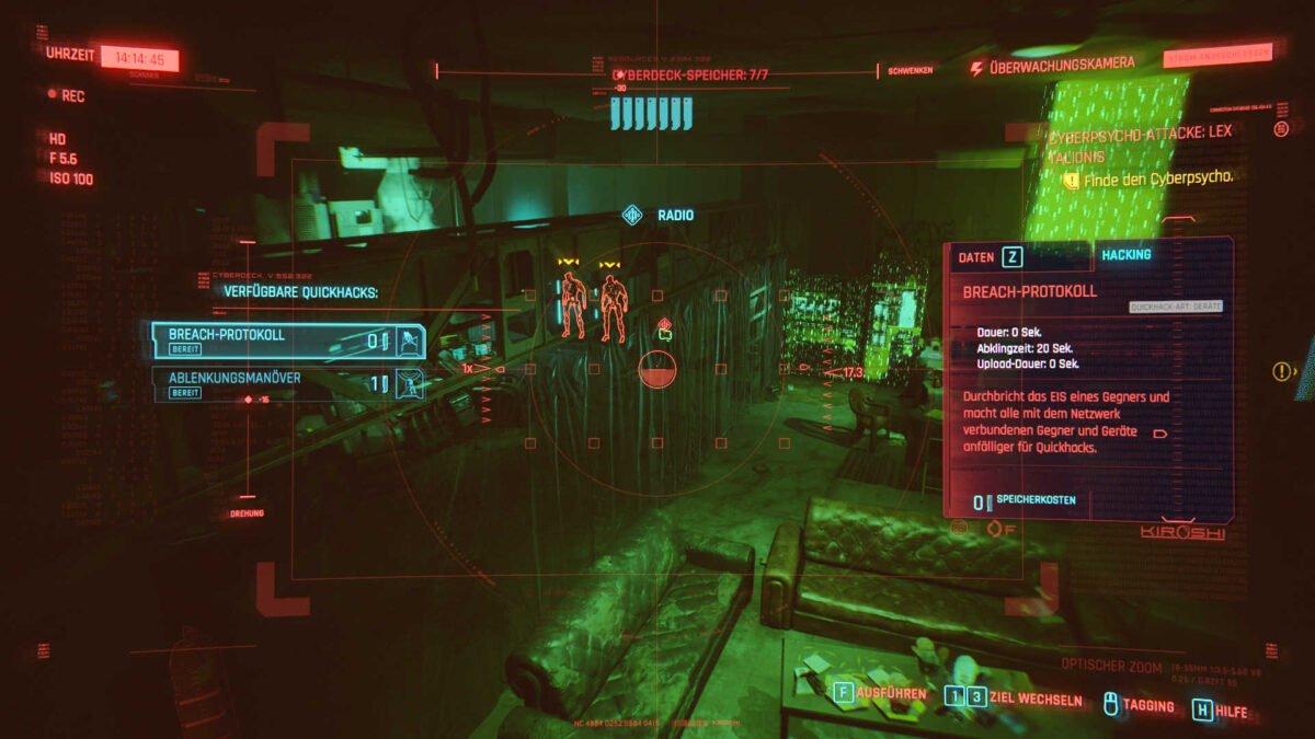 Cyberpunk 2077 Hacken-Guide Scanansicht eines Gerätes durch eine gesteuerte Sicherheitskamera