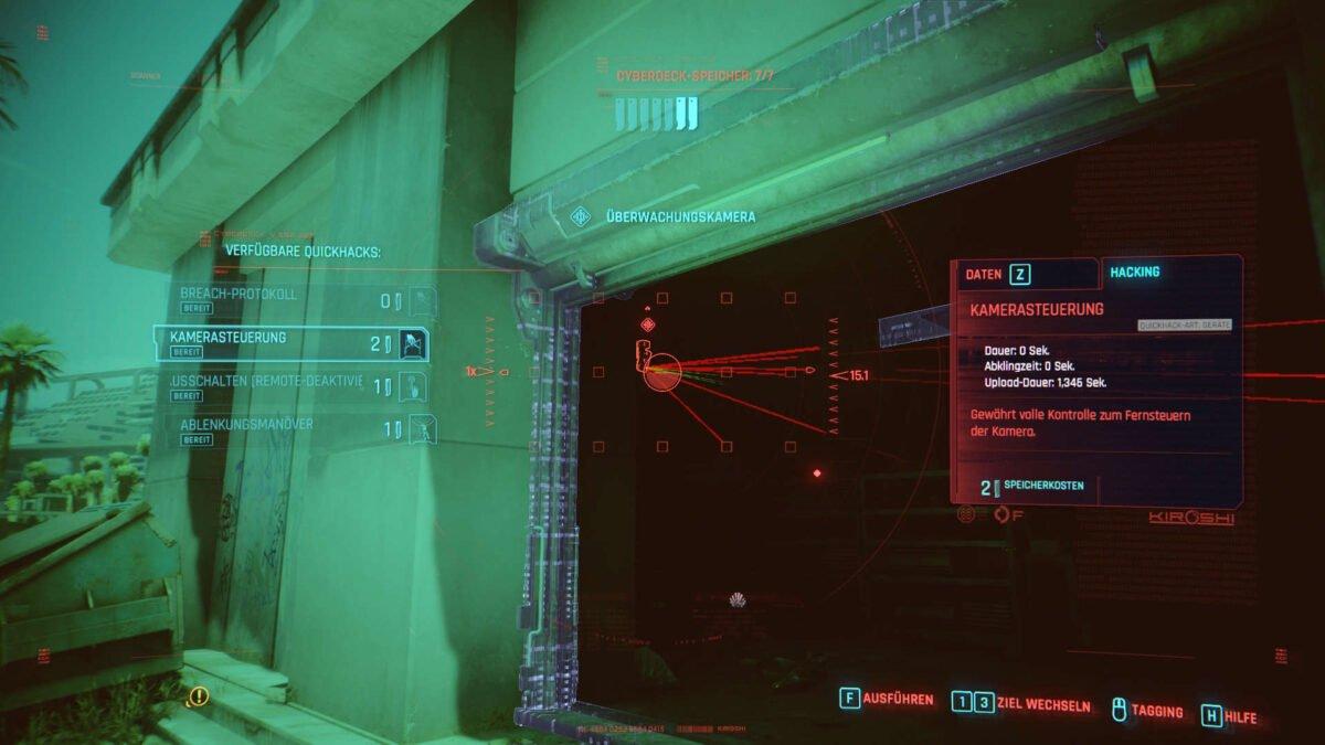 Cyberpunk 2077 Hacken-Guide Hacking-Scanansicht einer aktiven Sicherheitskamera an einem offenen Garagentor