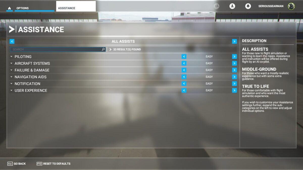 The menu Support in Flight Simulator 2020