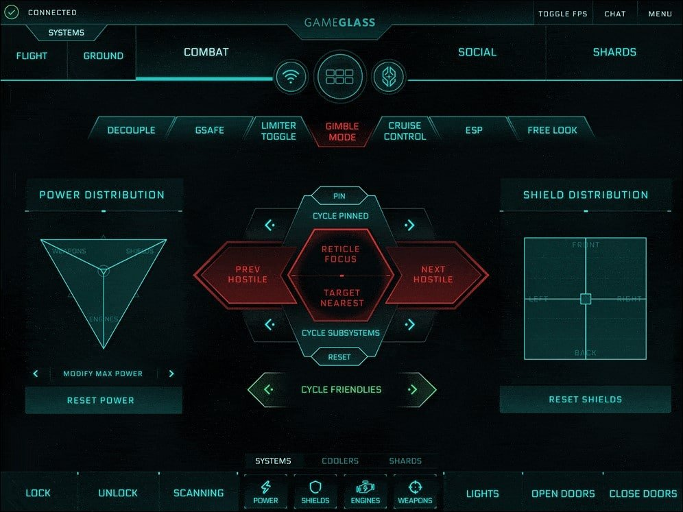 GameGlass Kampf-Bildschirm für Star Citizen