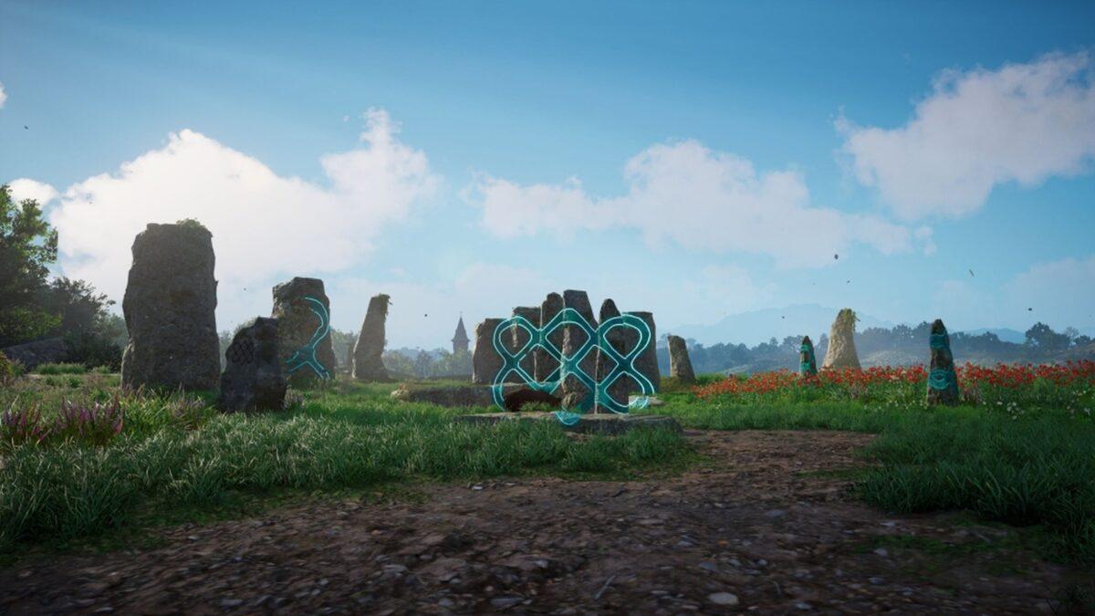 Ein Steinrätsel in Assassin's Creed Valhalla: Im richtigen Blickwinkel ergibt sich ein Symbol auf den großen Felsen.