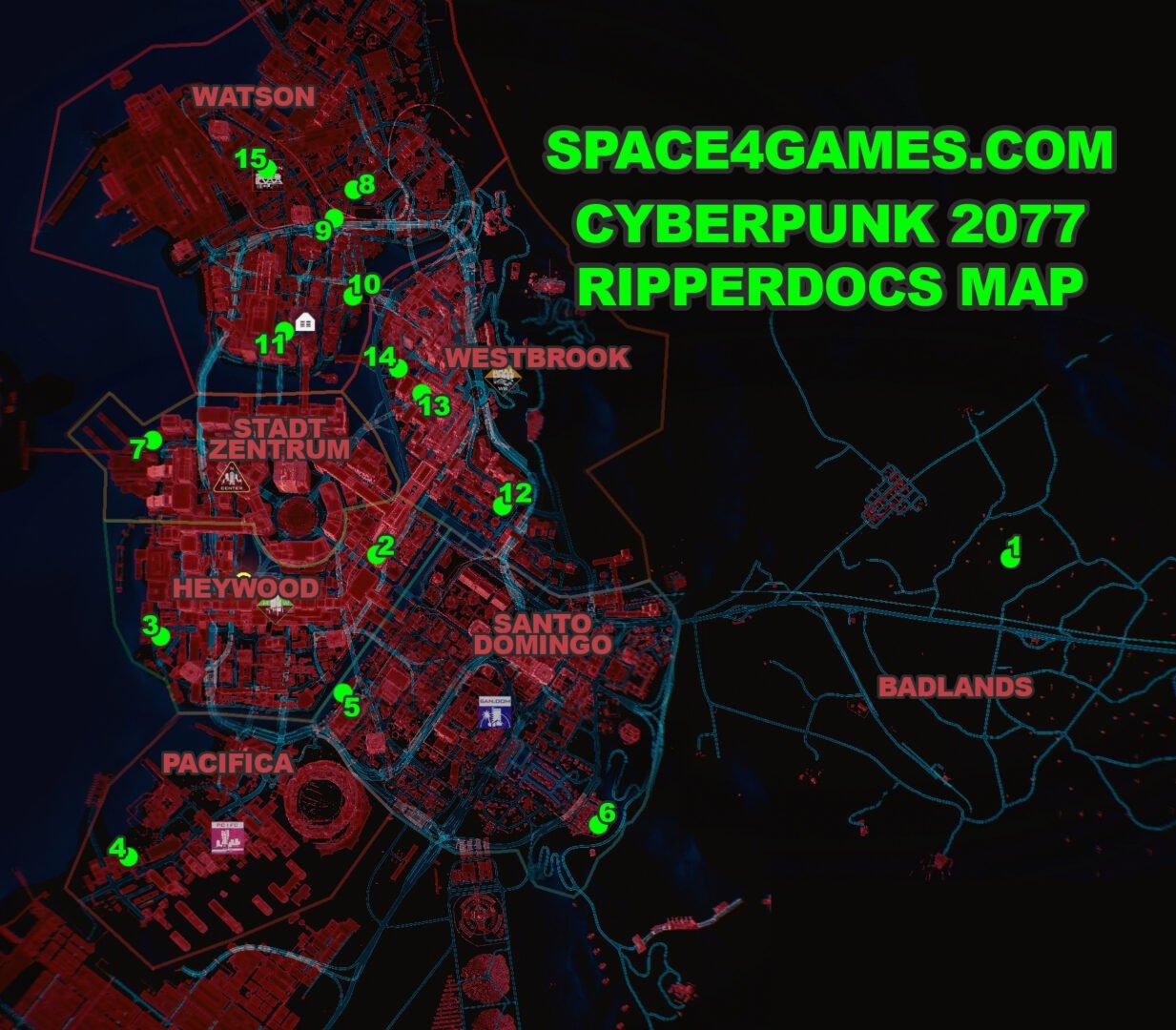 Karte von Night City mit Position aller Ripperdocs in Cyberpunk 2077