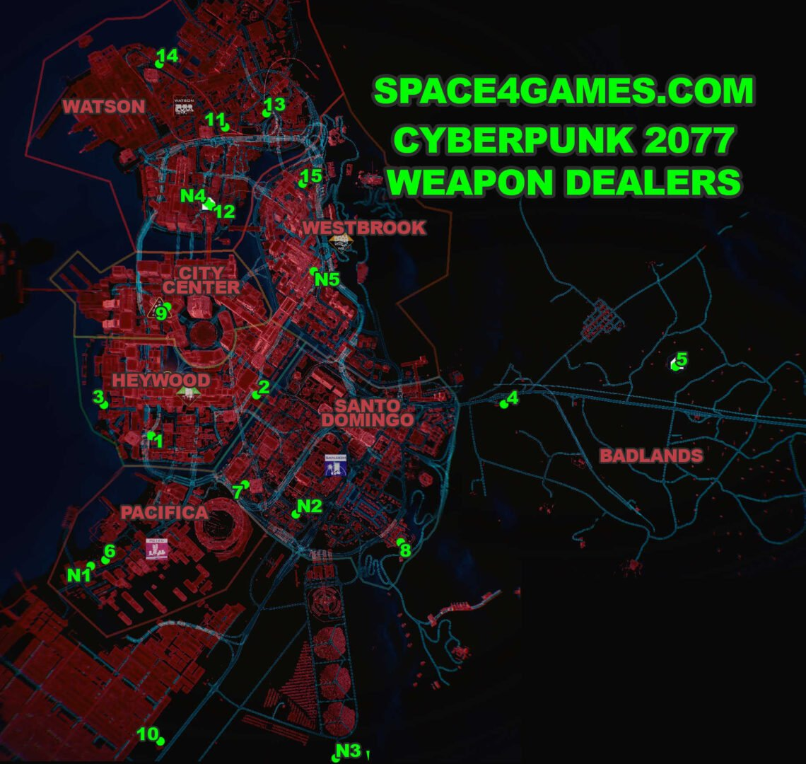 Map of Night City with all Weapon Dealer in Cyberpunk 2077