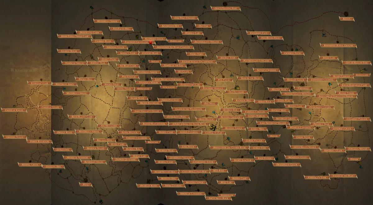 Komplette Weltkarte in Pathfinder: Kingmaker