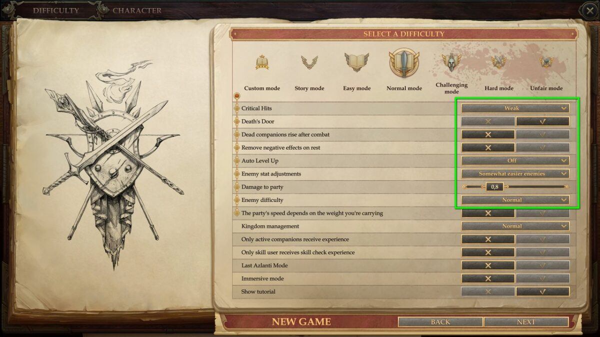 Difficulty level settings in the menu in Pathfinder: Kingmaker