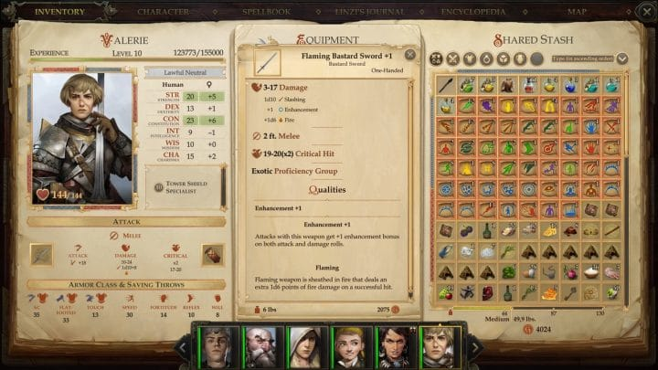 Flaming bastard sword +1 in the overview in the inventory of fighter Valerie in Pathfinder: Kingmaker