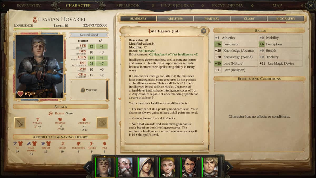 Overview of ability scores and skills of a character in Pathfinder: Kingmaker