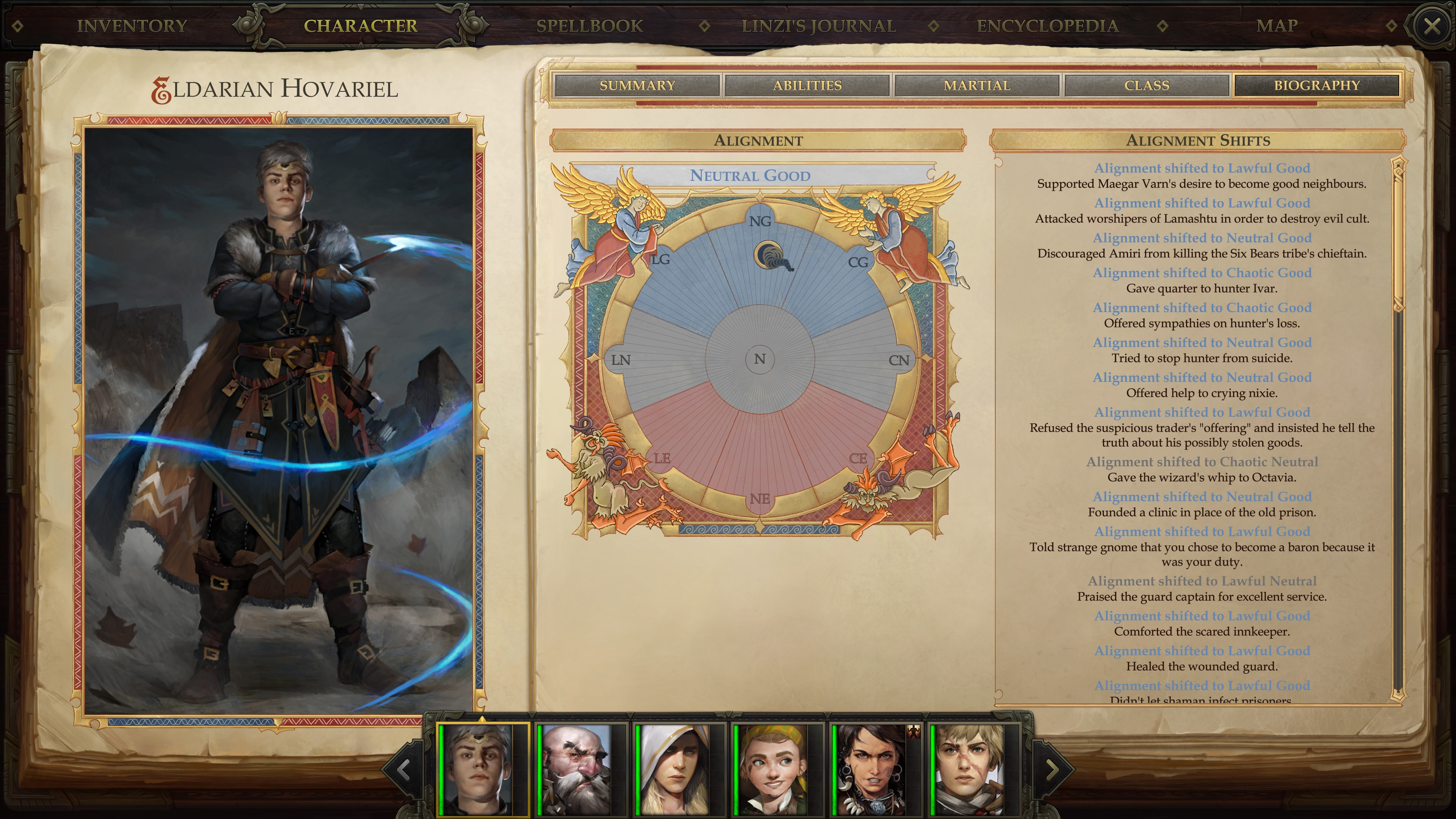 We can track the alignment of our heroes and the changes made to them in their biographies. © Owlcat Games