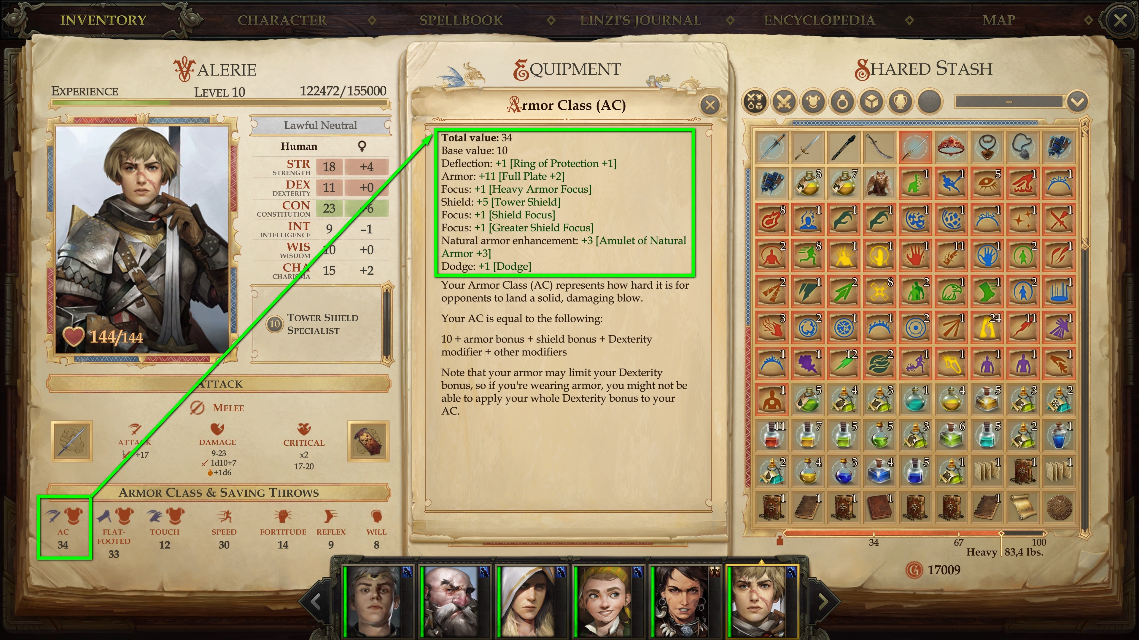 The Armor Class explained at a glance. © Owlcat Games