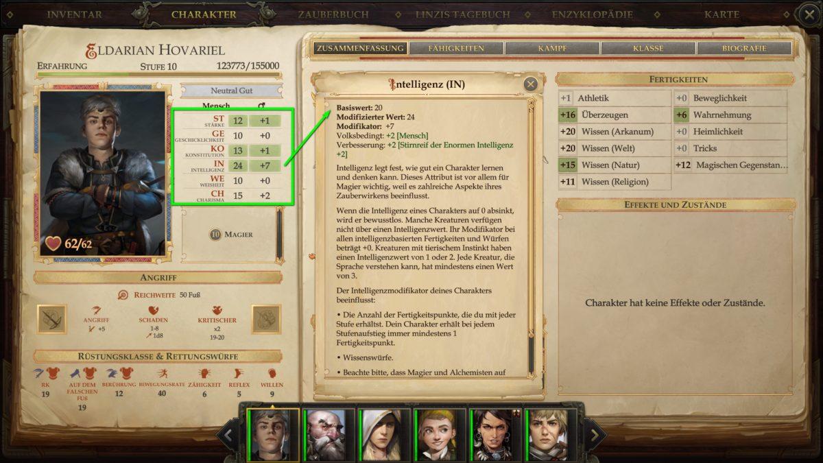 Übersicht über Attribute und Fertigkeiten eines Charakters in Pathfinder: Kingmaker