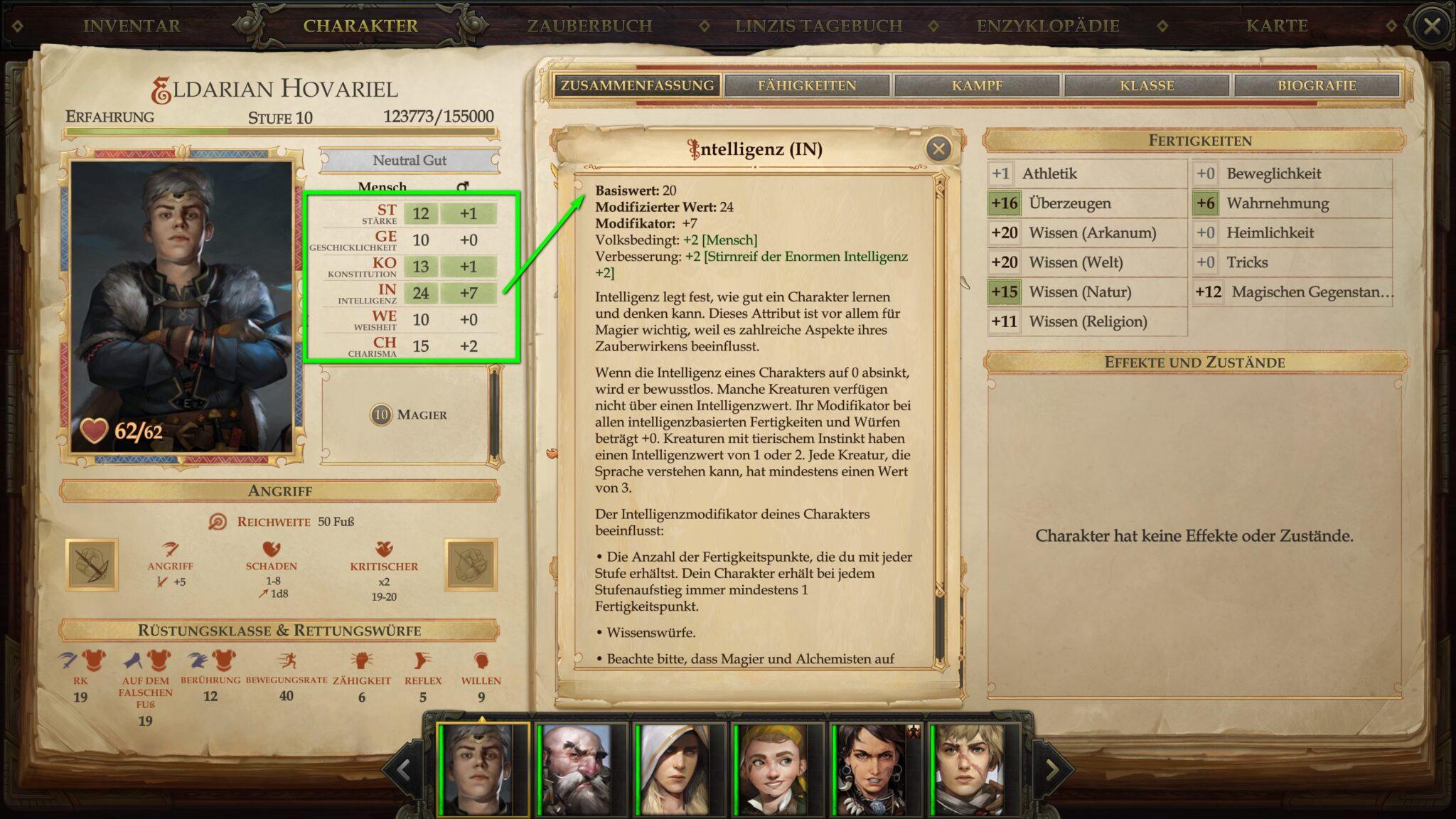 Attribute haben direkten Einfluss auf Würfelergebnisse. © Owlcat Games