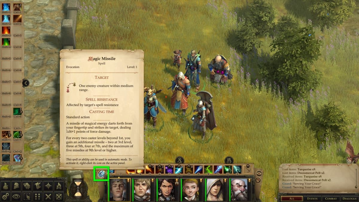 The hero group in close-up view in Pathfinder: Kingmaker, plus the display of information about Magic Missile that the mage has set as an automatic attack