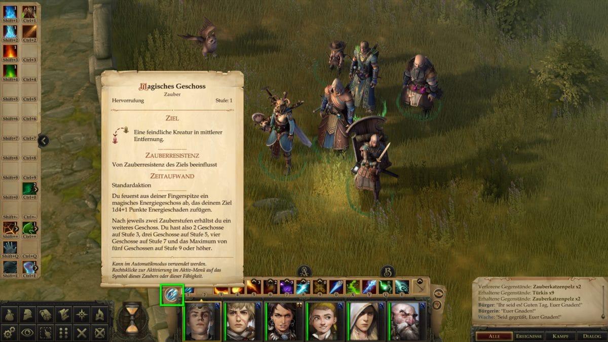 Die Heldengruppe in Nahansicht in Pathfinder: Kingmaker, dazu die Anzeige der Infos zu Magisches Geschoss, dass der Magier als automatischen Angriff eingestellt hat