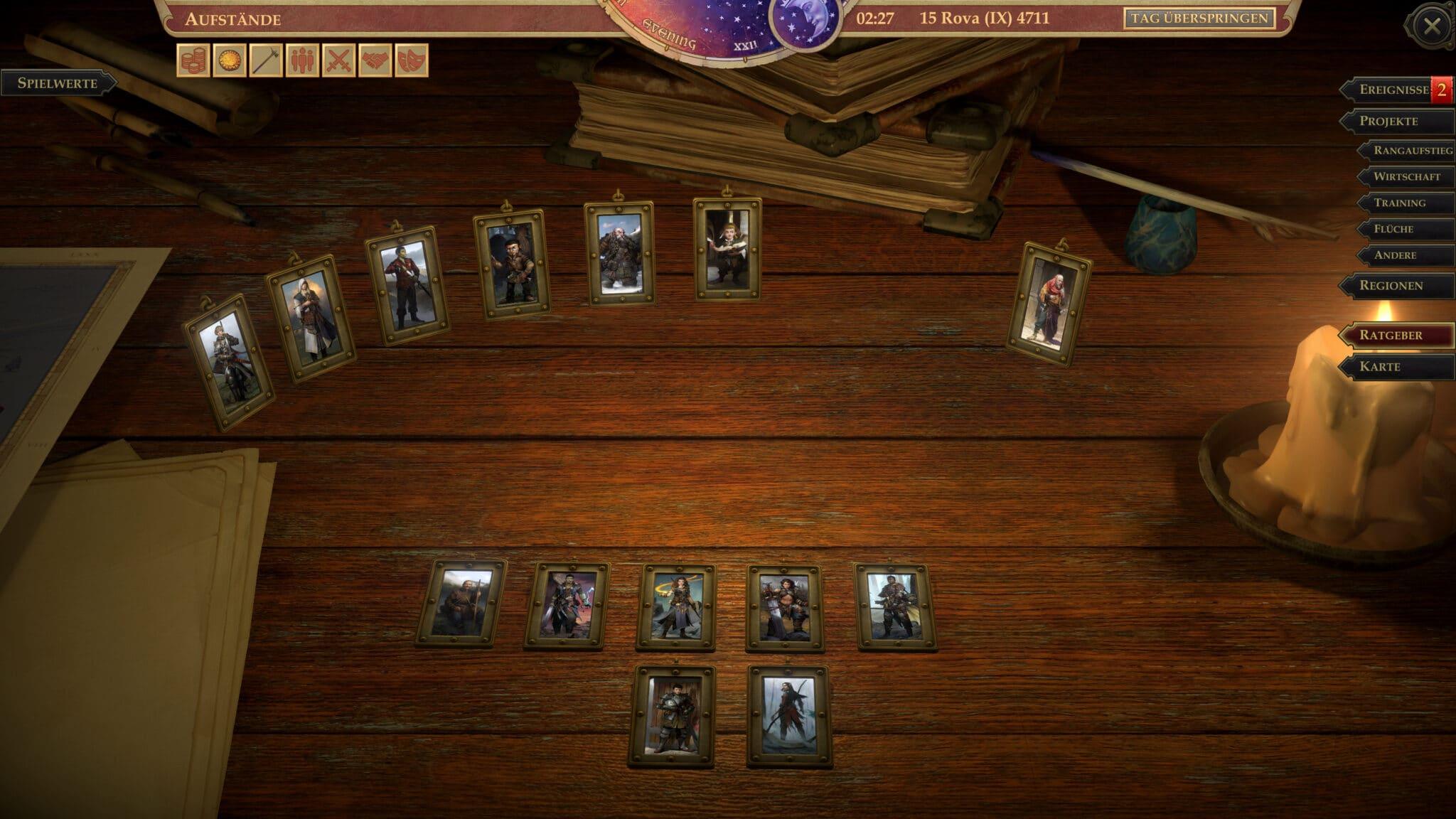 Sobald ein Königreichswert den ersten Rang erreicht hat, wird ein passender Posten für einen Berater geschaffen. © Owlcat Games