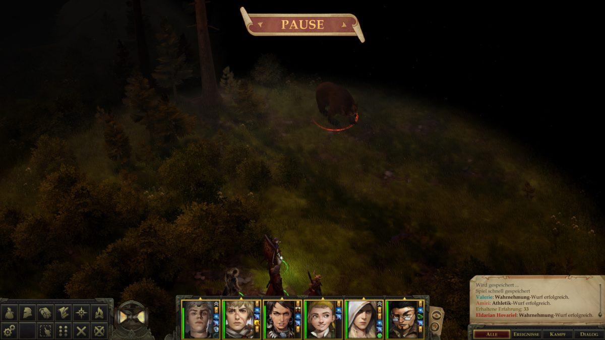 Pausierte Ansicht, Gruppe unten, feindlicher Bär oben mit roter Umrandung in Pathfinder: Kingmaker
