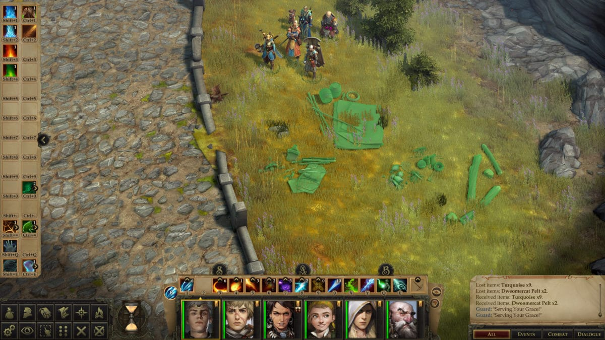 The hero group in Pathfinder: Kingmaker positioning their camp in a level