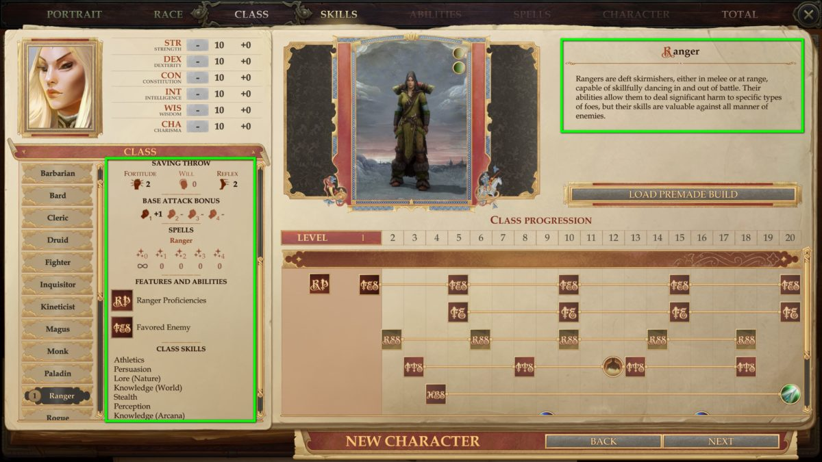 Class overview during character creation in Pathfinder: Kingmaker