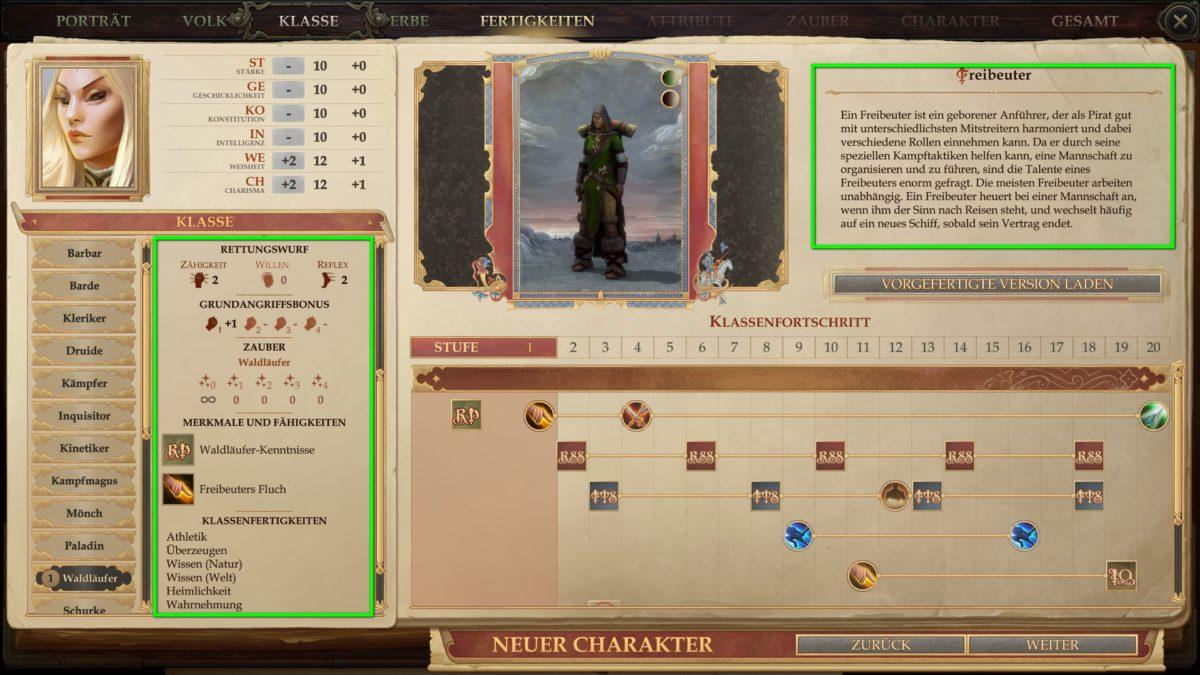 Klassenübersicht bei der Charaktererstellung in Pathfinder: Kingmaker