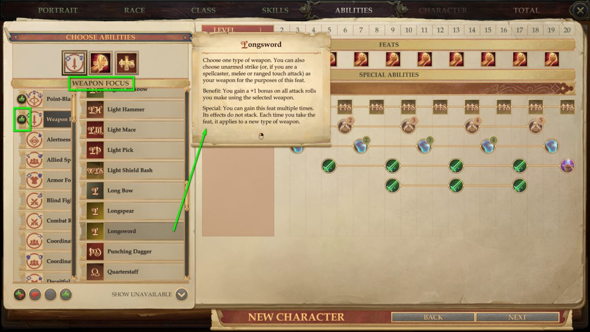 Skills and talents in Pathfinder: Kingmaker