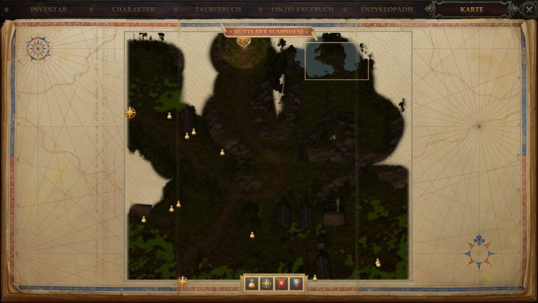 "Location of Tiressia in Pathfinder: Kingmaker on the map ""Swamp Witch's Hut""."
