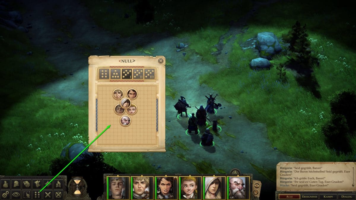 Gruppenformation einstellen in Pathfinder: Kingmaker