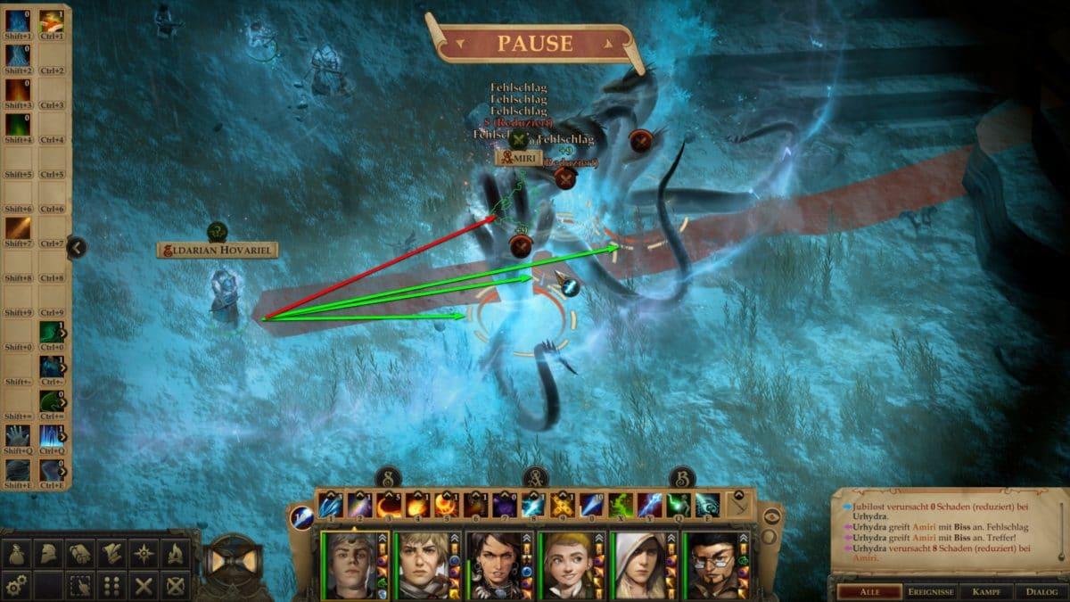 Kampf gegen Hydra in Pathfinder: Kingmaker, pausiert, mit Anzeige des Wirkungsbereichs des nächsten geplanten Zaubers des Magiers