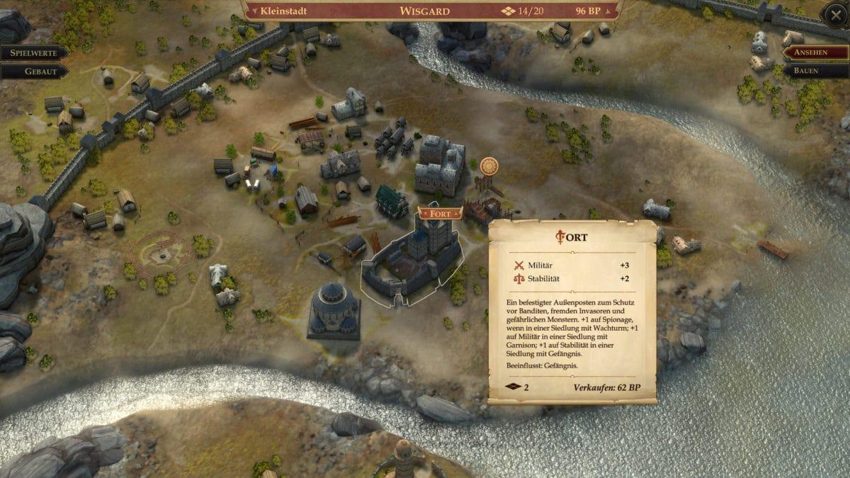 Stadtbauplätze und die Informationen zu einem Fort-Gebäude