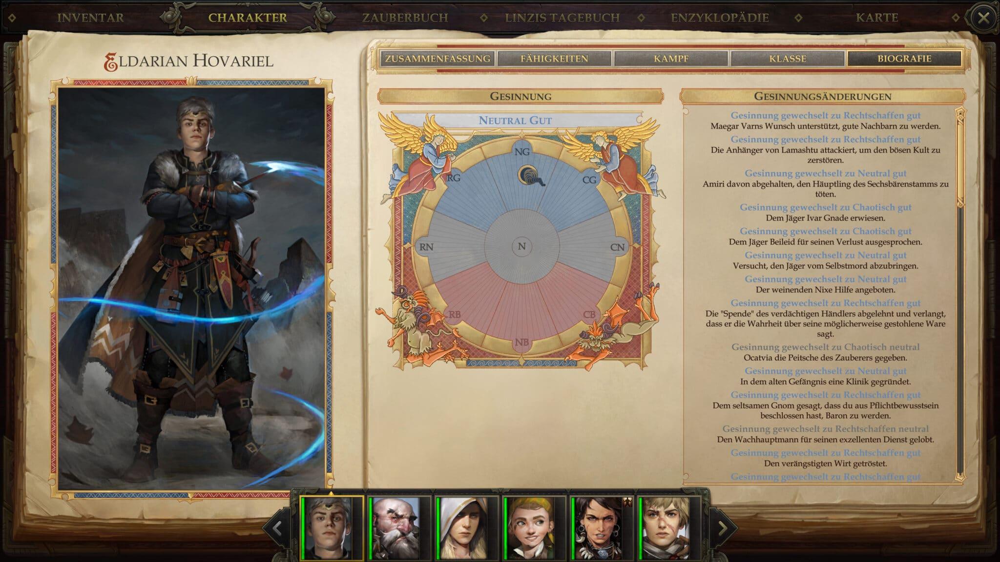 Die Gesinnung unserer Helden und ihre Veränderung können wir in der Biografie verfolgen. © Owlcat Games