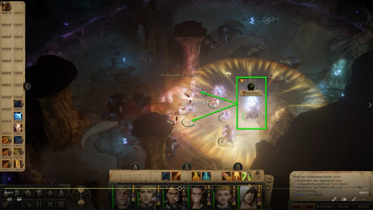 Fight in a cave in Pathfinder: Kingmaker, Healer Tristian casts a radius spell to heal fighters in the area