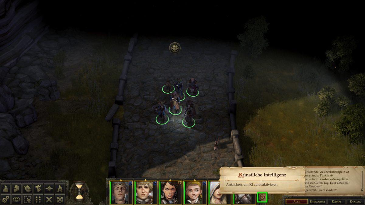Normale Ansicht in Pathfinder: Kingmaker mit markiertem KI-Button für Gruppenmitglieder