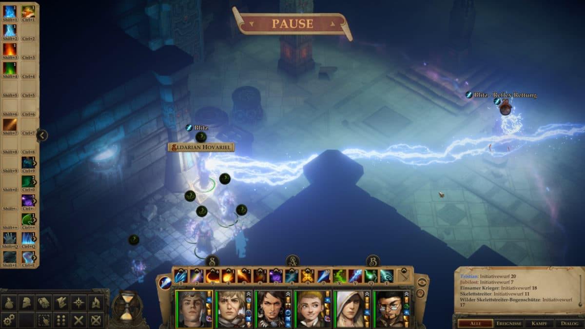 Destructive lightning spell meets enemy in crypt in Pathfnder: Kingmaker