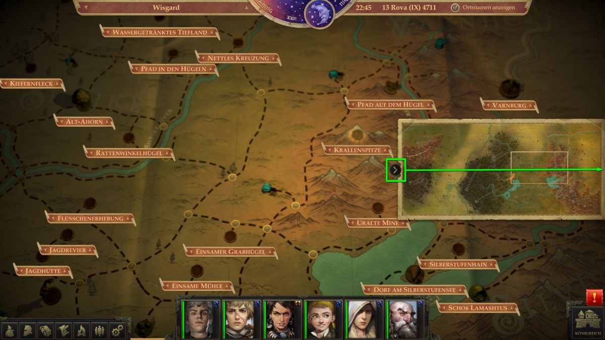 The world map including a small overview map in Pathfinder: Kingmaker