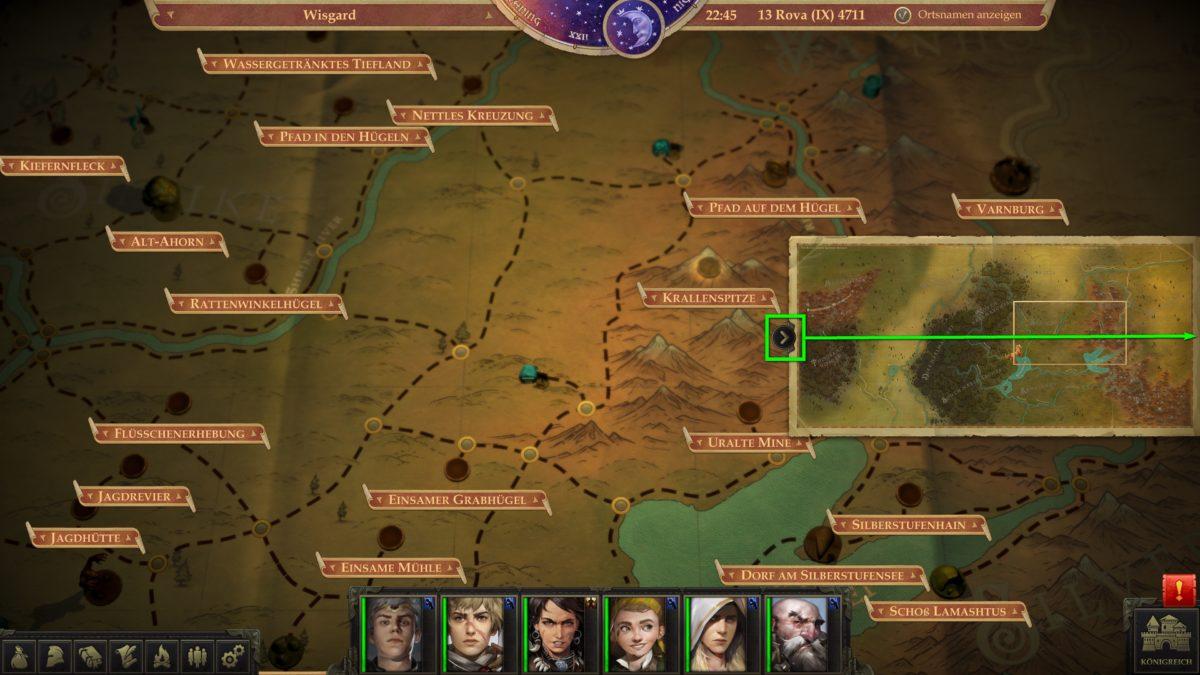 Die Weltkarte inklusive kleiner Übersichtskarte in Pathfinder: Kingmaker