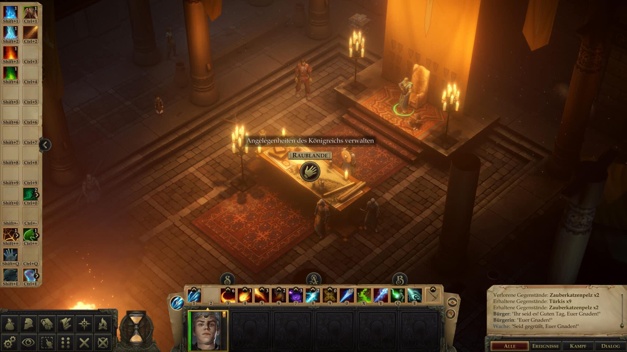Im Thronsaal empfangt ihr Bittsteller und ihr könnt am Kartentisch das Reich verwalten. © Owlcat Games