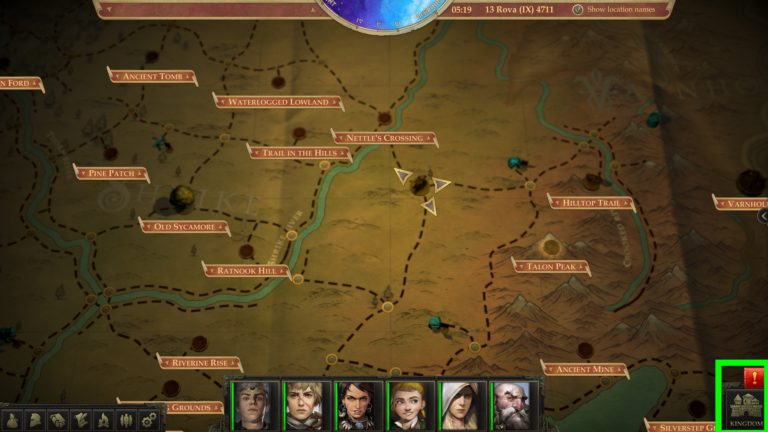 Pathfinder: Kingmaker world map with notification of new kingdom events.