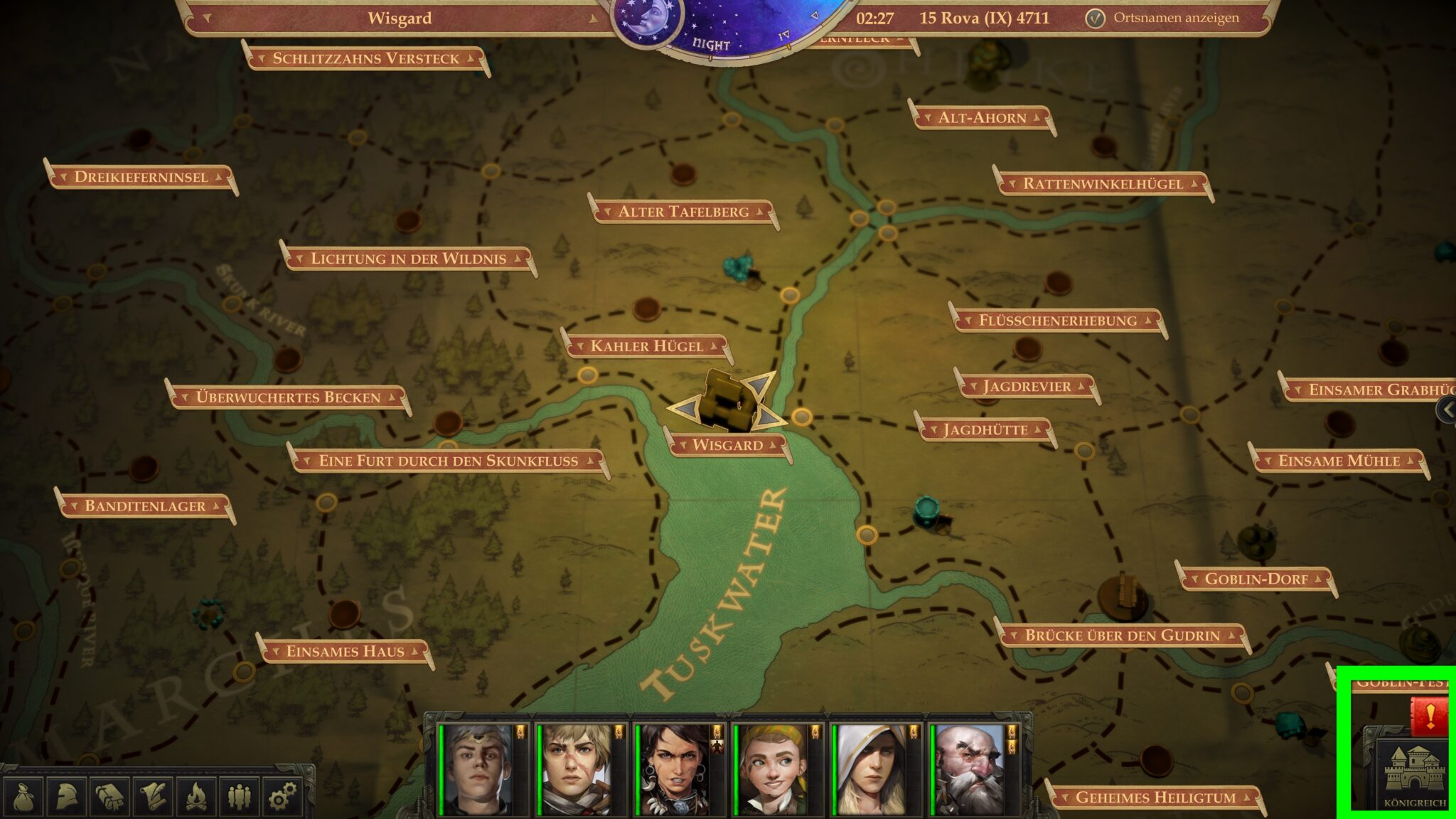 Der Königreich-Button auf der Weltkarte bringt uns zur Verwaltung der Baronie, das rote Ausrufezeichen zeigt uns an, wenn es neue Ereignisse gibt. © Owlcat Games