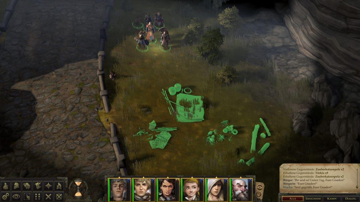 Die Heldengruppe in Pathfinder: Kingmaker bei der Positionierung ihres Lagers in einem Level