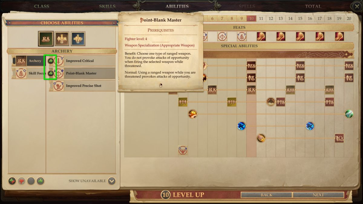 Select skills in the Level Up Overview in Pathfinder: Kingmaker