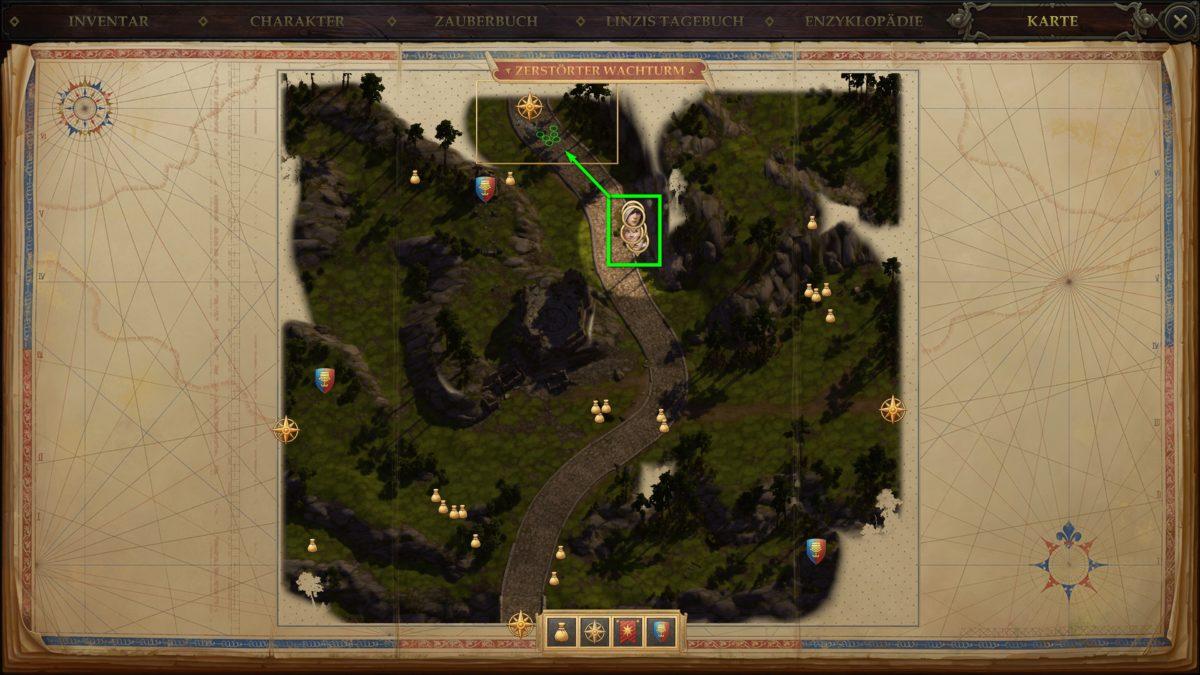 Die Karte eines Levels in Pathfinder: Kingmaker mit Anzeiger der Position der Gruppe
