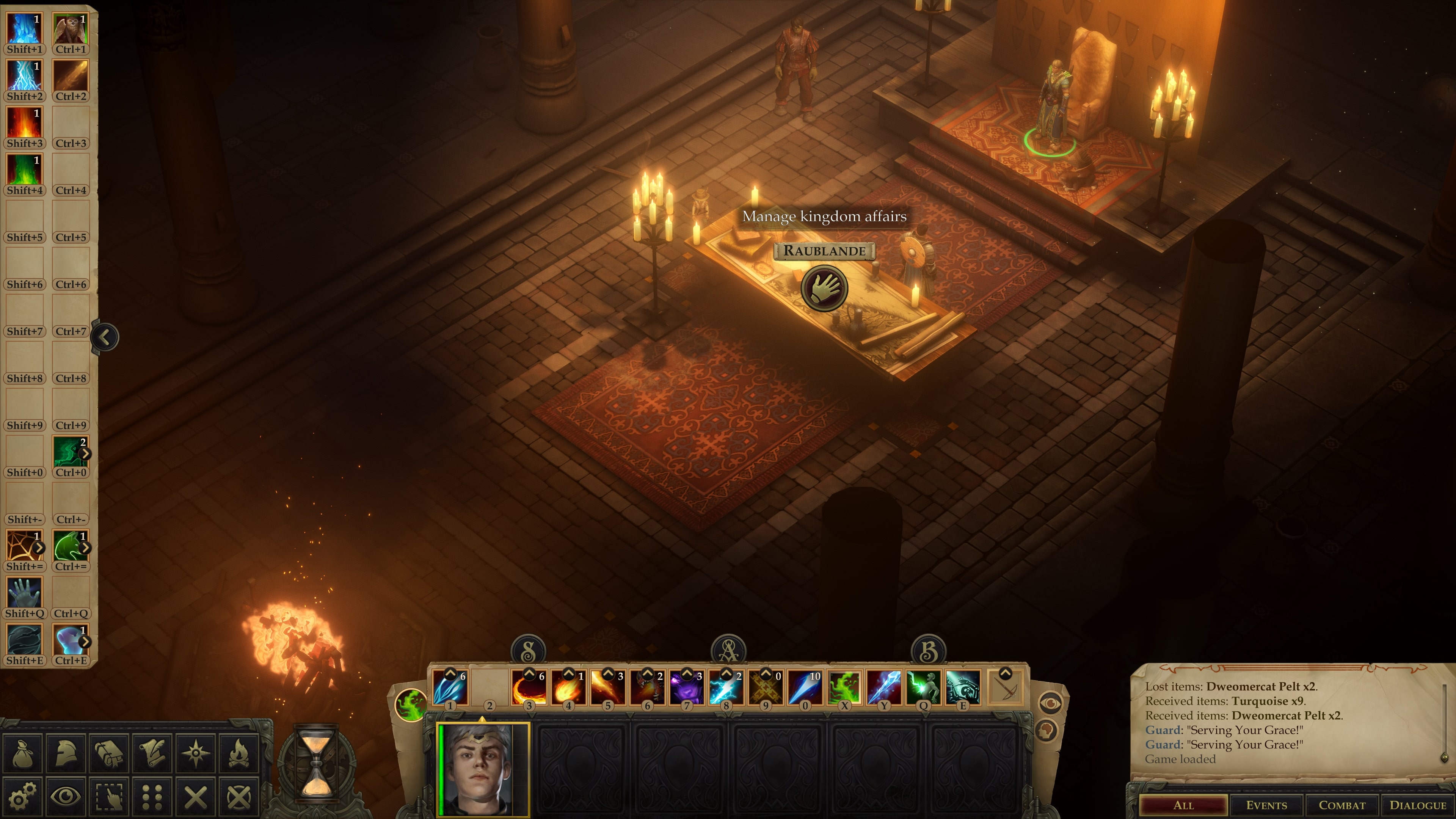In the throne room you will welcome petitioners and you can manage the empire using the map table. © Owlcat Games