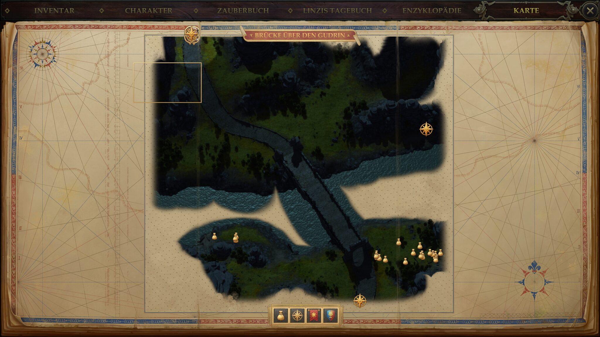 Der unglückselige Lehrling befindet sich oben links auf der Karte Brücke über den Gudrin. © Owlcat Games