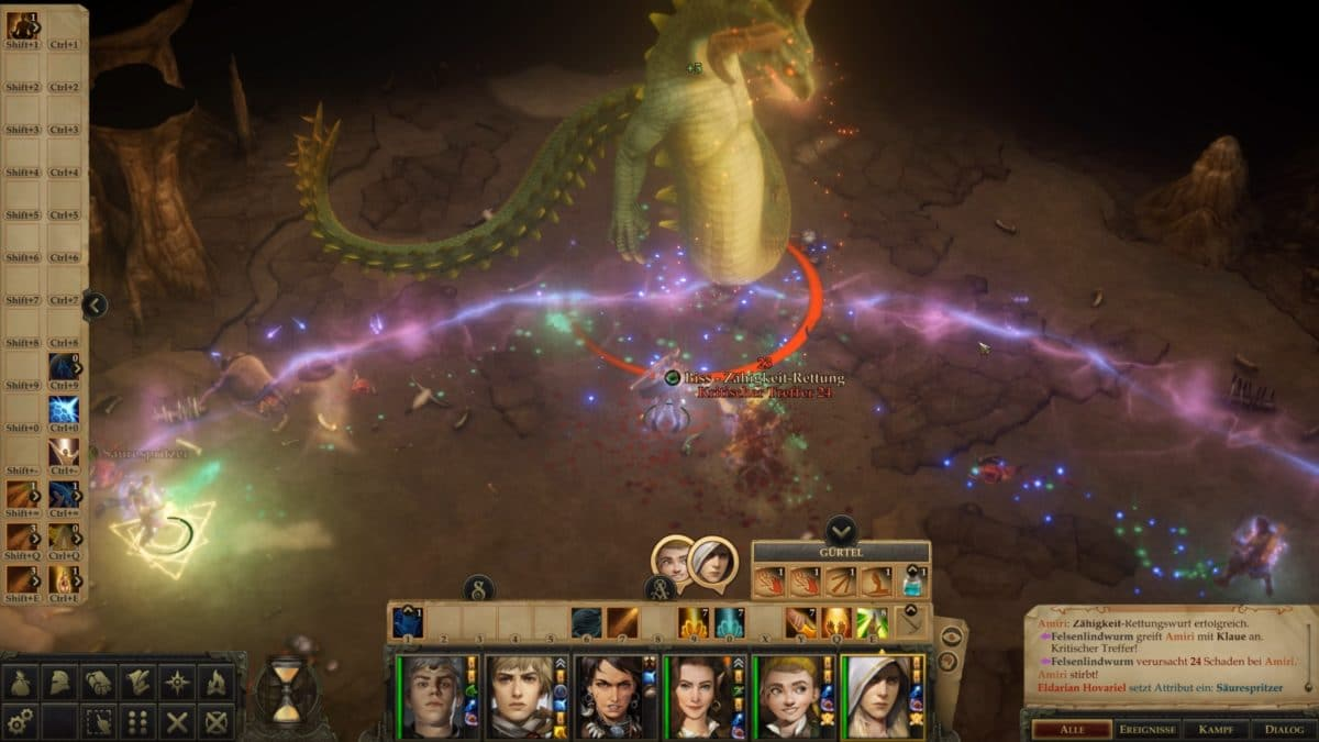 A giant lindworm in a fight in a cave in Pathfinder: Kingmaker