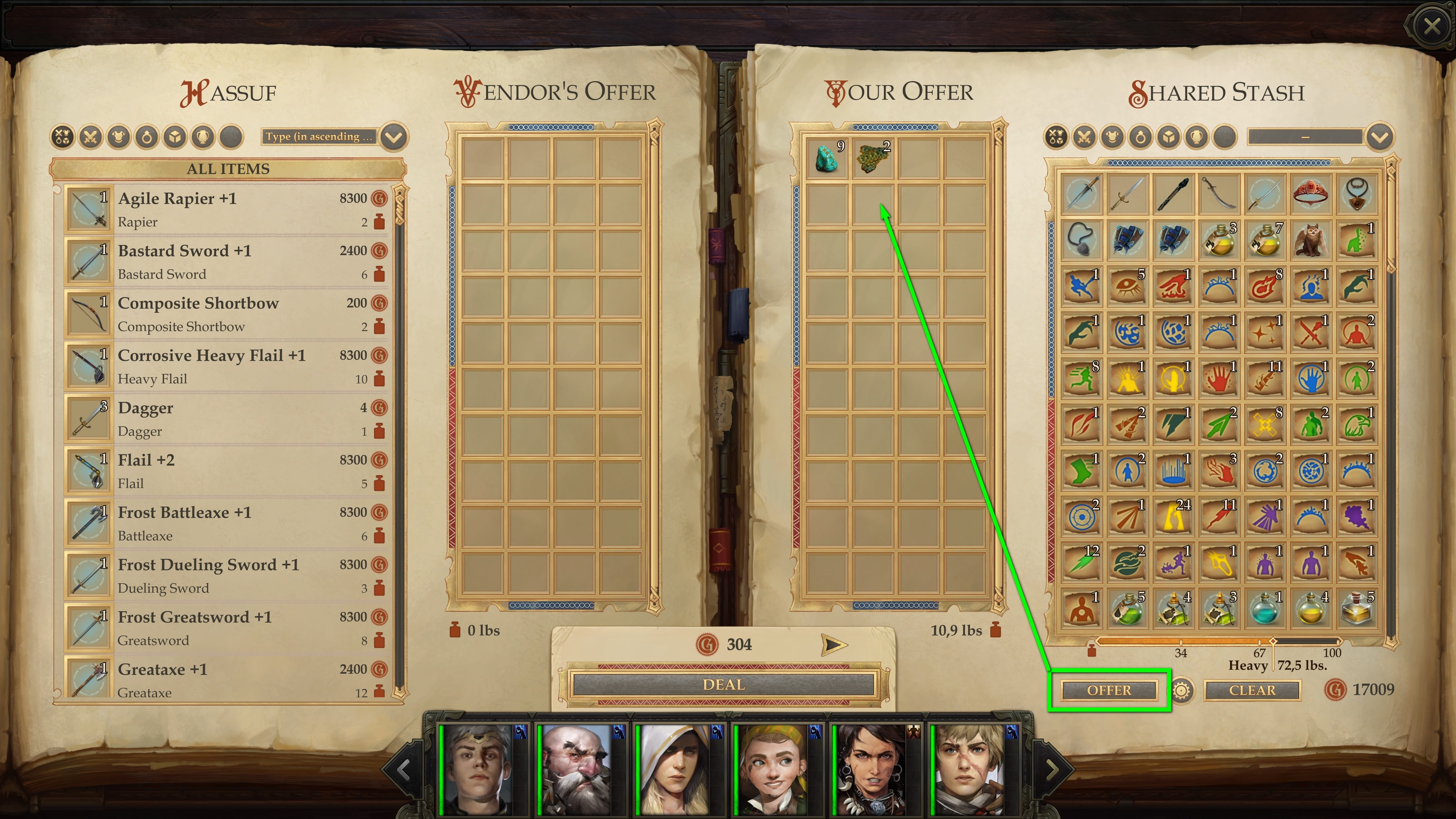 """The button """"Offer"""" moves all generic sell goods into the trade window. © Owlcat Games"""