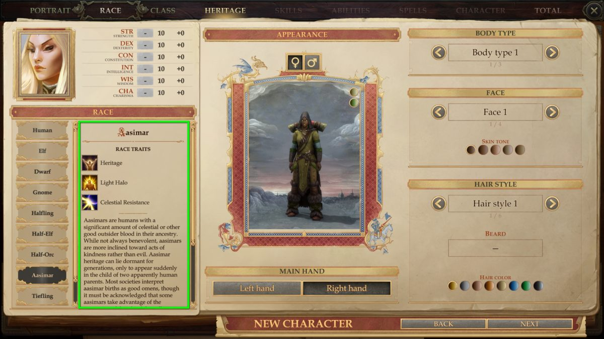 Race overview in Pathfinder: Kingmaker