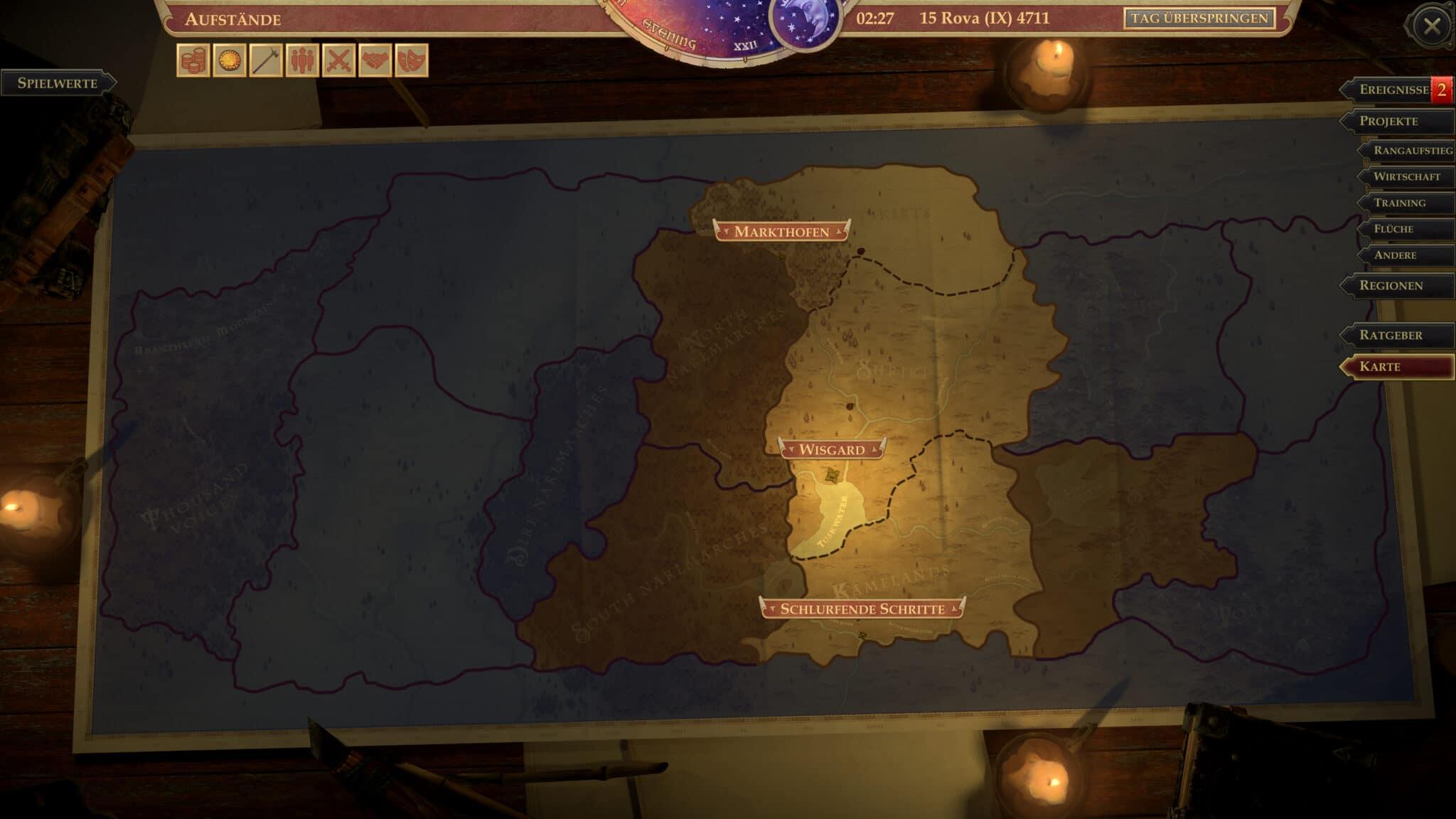 13 Regionen warten darauf, von euch übernommen zu werden. © Owlcat Games