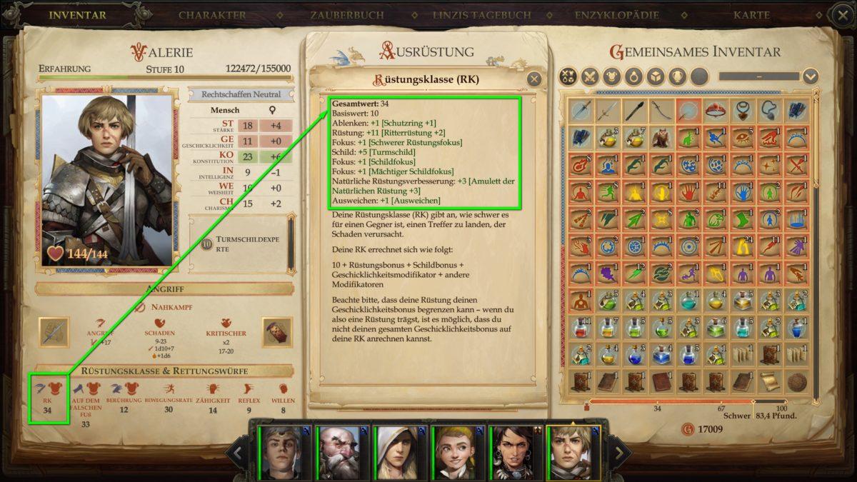 Das Inventar von Valerie in Pathfinder: Kingmaker, inklusive Charakterwerte