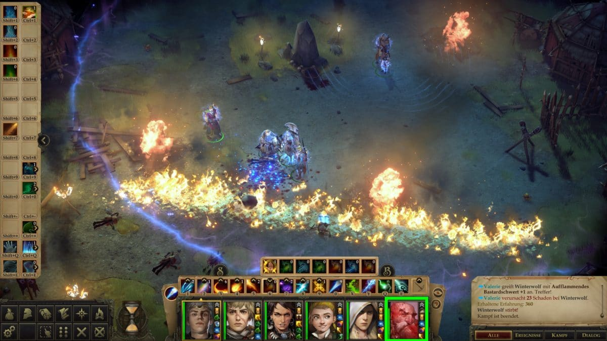 Great wall of fire in the fight against strong opponents and Harrim is already in the state Death's Door, which can be seen on his portrait in Pathfinder: Kingmaker